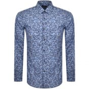 Product Image for BOSS Isko Floral Slim Fit Long Sleeve Shirt Blue