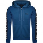 Product Image for EA7 Emporio Armani Full Zip Logo Hoodie Blue