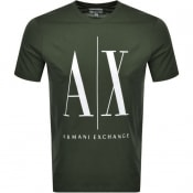 Product Image for Armani Exchange Crew Neck Logo T Shirt Green