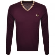 Product Image for Fred Perry V Neck Knit Jumper Burgundy